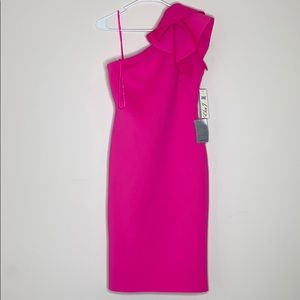 ElizaJ One-shoulder Ruffle Cocktail Dress Hot Pink